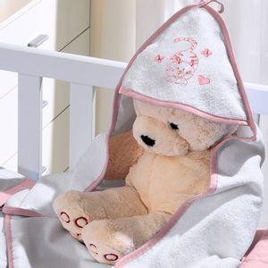 Toalha com Capuz para Bebê de Plush Felpudo Bordada com Viés Cat Rosa Buettner Baby