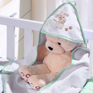 Toalha com Capuz para Bebê de Plush Felpudo Bordada com Viés Dog Verde Buettner Baby
