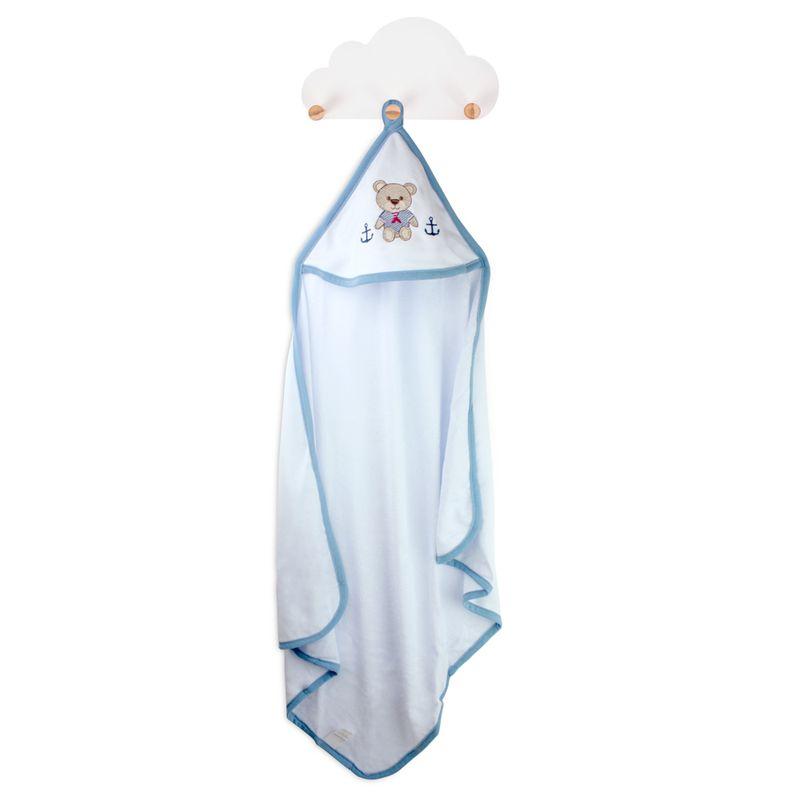 toalha-com-capuz-para-bebe-de-plush-felpudo-bordada-com-vies-teddy-azul-buettner-baby-principal