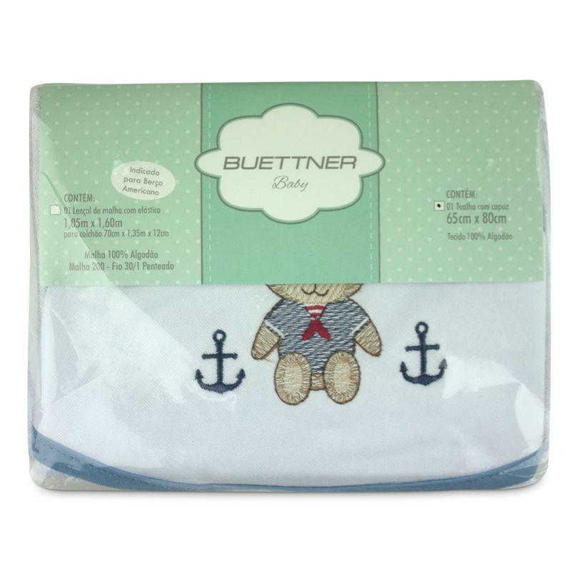 toalha-com-capuz-para-bebe-de-plush-felpudo-bordada-com-vies-teddy-azul-buettner-baby-embalagem