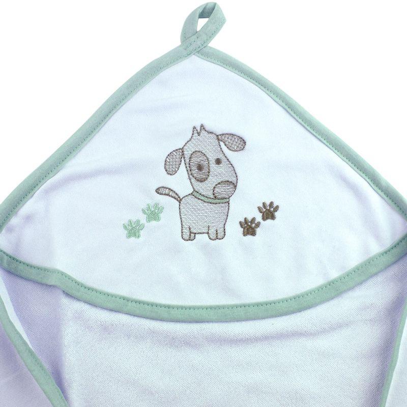 toalha-com-capuz-para-bebe-de-plush-felpudo-bordada-com-vies-dog-verde-buettner-baby-detalhe