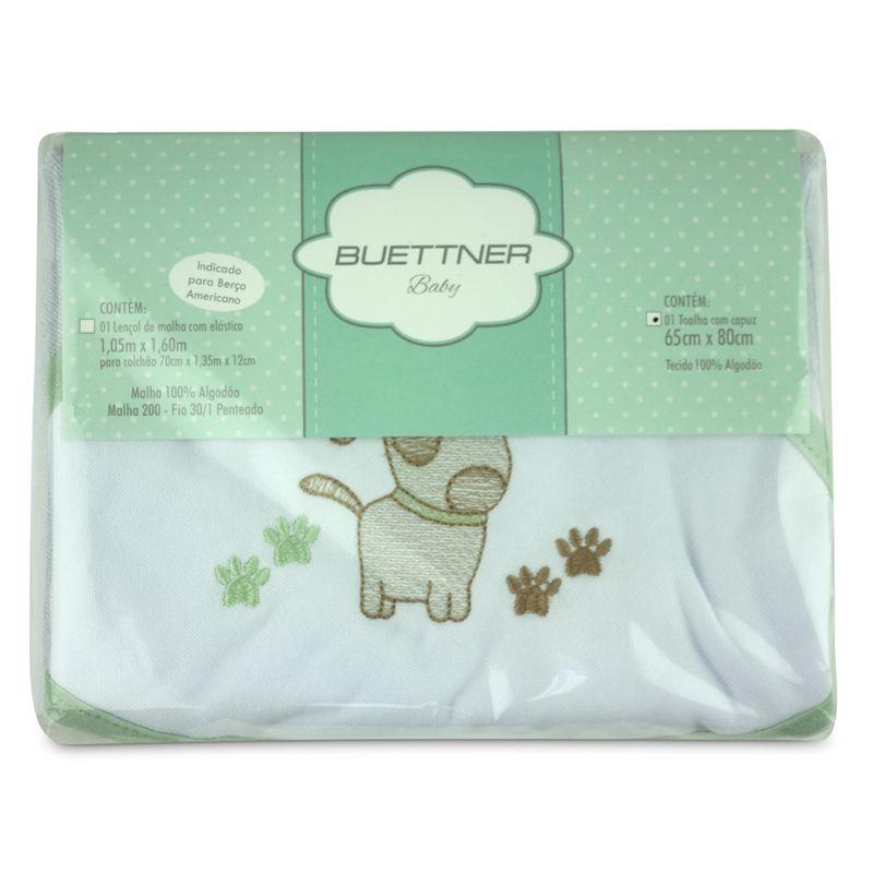 toalha-com-capuz-para-bebe-de-plush-felpudo-bordada-com-vies-dog-verde-buettner-baby-embalagem