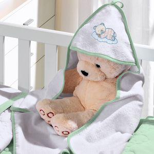 Toalha com Capuz Felpudo para Bebê Bordada com Viés Teddy Soninho Verde Buettner Baby