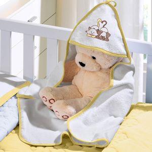 Toalha com Capuz Felpudo para Bebê Bordada com Viés Buettner Baby Amigos Amarelo Mel