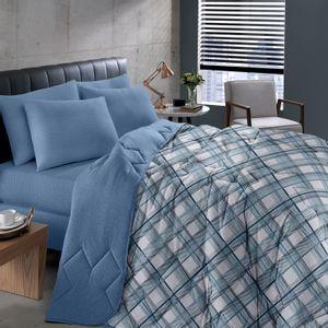 Edredom em Malha Solteiro 150x220cm em Algodão Estampado Buettner Basic Charles Azul