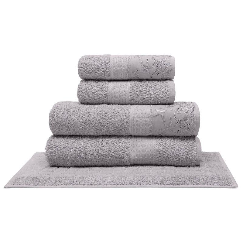 jogo-de-toalhas-5-pecas-em-algodao-500-gramas-por-metro-quadrado-e-aplicacao-de-renda-buettner-flora-cinza-principal